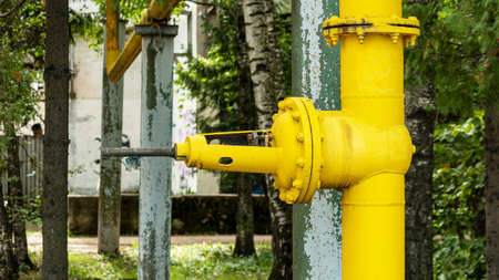 large yellow gas distribution valve in the Park