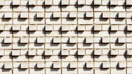 white brick wall with convex bricks, backgrounds, textures
