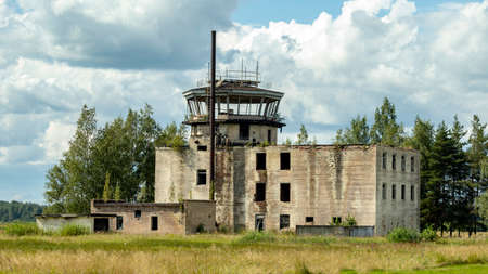 air traffic control building on an abandoned airfield