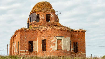 ruins of the destroyed red brick Orthodox Church Foto de archivo