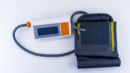 Medical blood pressure monitor on  white