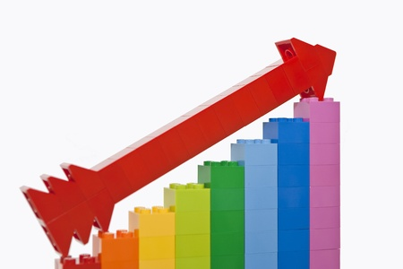 Growth chart from color toy blocks with red arrow  photo