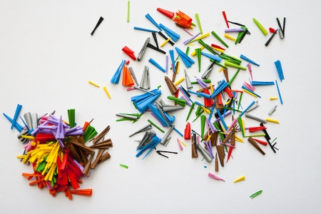 Colorful background many of pencil shavings mixed photo
