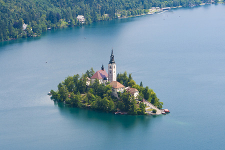 bled: Lonely Drop island on Lake Bled