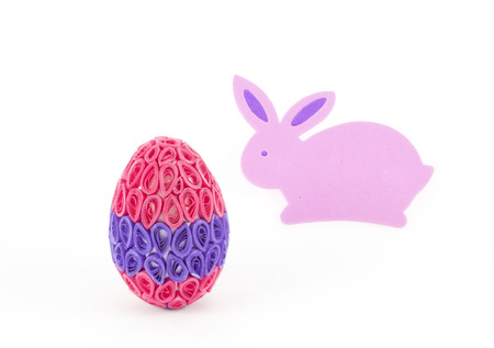 quilling: Easter bunny and quilling  egg with pink and purple colors