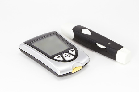 glucose: Illustration of a blood glucose measuring device on a white background
