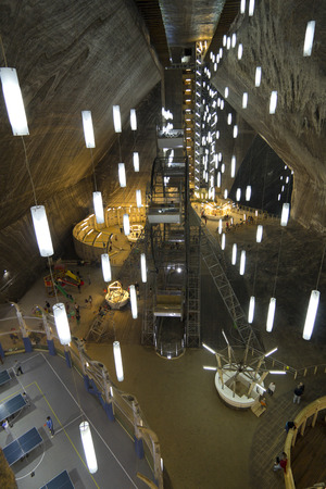 salt mine: Top view of Main Chamber in Turda Salt Mine - Romania