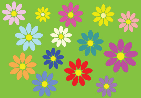 margerite: Colorful flowers that make a carpet on green background Stock Photo