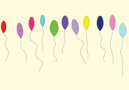 middle air: Eleven colorful balloons isolated on cream background