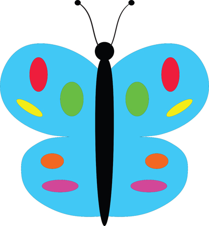 represents: A vector drawing represents colorful  butterfly logo design