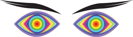 global design: Vector illustration of colorful, abstract rainbow eyes.