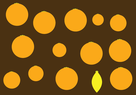 brown pattern: Brown pattern with oranges and single yellow lemon. Vector illustration Illustration