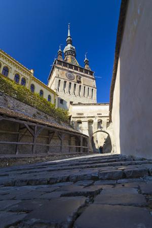 citadel: Clock tower from the Sighisoara citadel, Transylvania, Romania