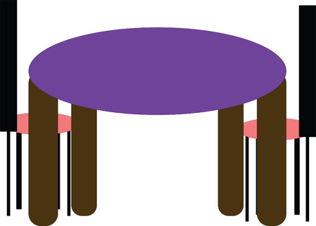 round chairs: Round table with two chairs, vector illustration Illustration