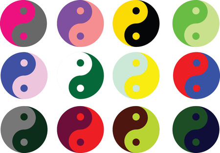 taoism: Yin Yang symbol  in multicolor vector illustration Illustration
