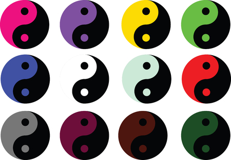 taoism: Yin Yang symbol icon - colored vector illustration Stock Photo