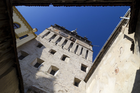 fortify: Walls of the old Clock Tower in Sighisoara, Transylvania, Romania