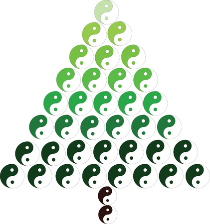 chinese philosophy: Christmas tree with yin and yang symbol, vector illustration