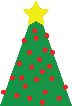 yellow star: Christmas tree with yellow star and many red globes, illustration Illustration