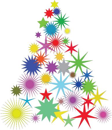 árbol de Navidad con la ilustración de color estrellas-