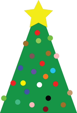 pleasing: Christmas tree with yellow star and many colored globes, Illustration Illustration