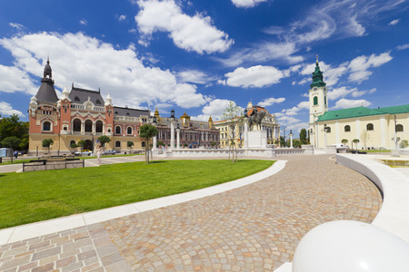 Union square (Piata Unirii) Oradea, Romania, cityscape with beautiful clouds