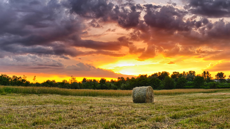 Hay bale at sunset. Sun rays filling up the sky.