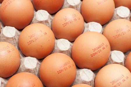 expiration date: Batch of eggs with expiration date stamp, on egg carton Stock Photo