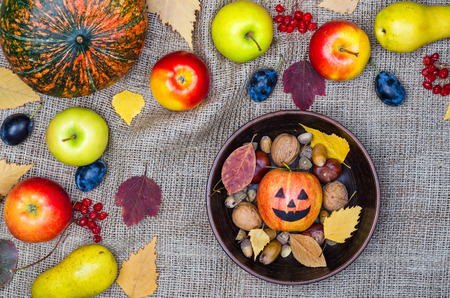 Background to Halloween: pumpkin, apples view from above. Autumn harvest.