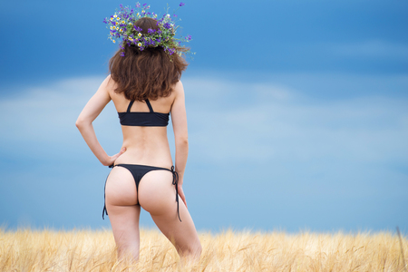 Slender young woman in a bikini posing on a golden wheat field under the open sky, free space. Sexy woman in lingerie, rear view. Archivio Fotografico