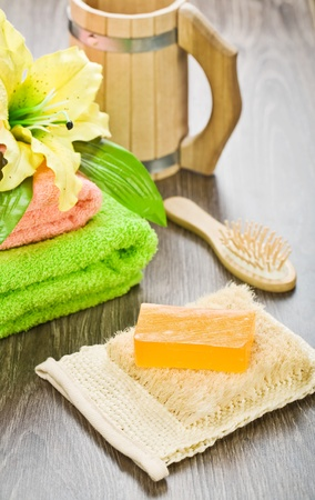 accessories for bathing on wooden background Stock Photo - 11463895