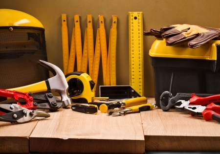 carpenter vise: composition of working tools Stock Photo