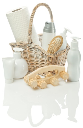 bast basket: cosmetical set in Bast basket Stock Photo