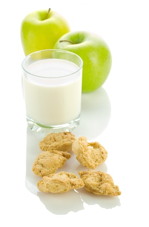 apple milk and cookies photo