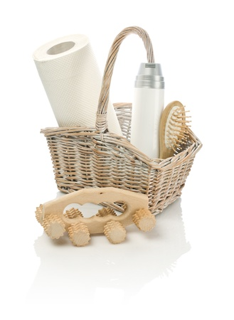 basket with objects and masseur