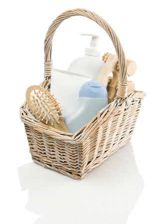 basket with tubes, hairbrush and masseur Stock Photo - 11503143