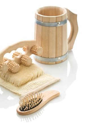 bathe mug: Bast massager hairbrush and mug