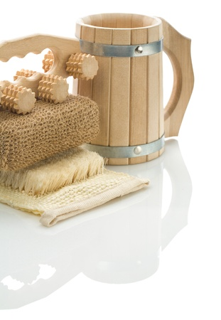 bathe mug: bath sponge massager und mug Stock Photo
