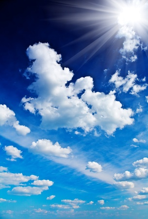beautyful dark blue sky with sun Stock Photo