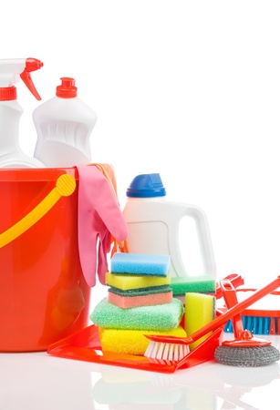 big set of cleaning items with copyspace photo