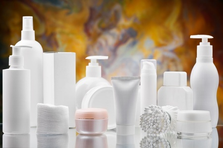 big set of skincare items Stock Photo