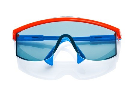 glases: blue safety glases isolated Stock Photo