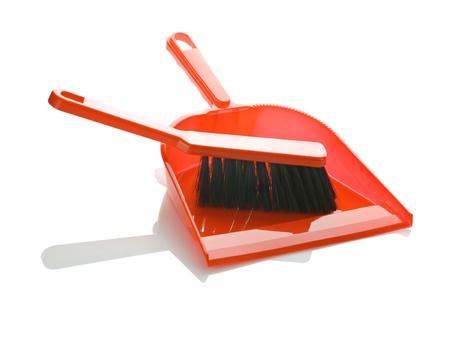 plastic scoop: brush on dustpan isolated