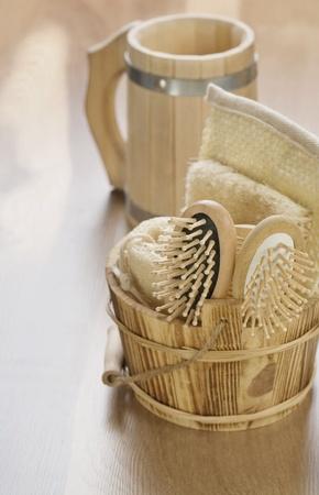 bathe mug: bucket and mug on wooden background