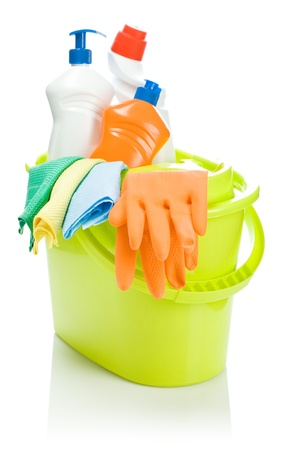 cleaning products: cleaning objects in bucket Stock Photo