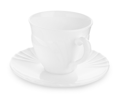 homeware: coffee cup on sauser isolated Stock Photo