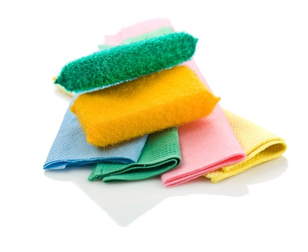 rags: colored sponges on rags Stock Photo