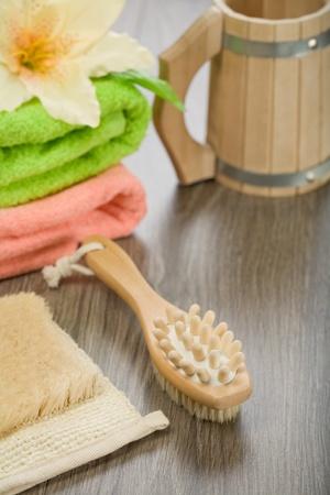 bathe mug: composition for taking bath on wooden background Stock Photo