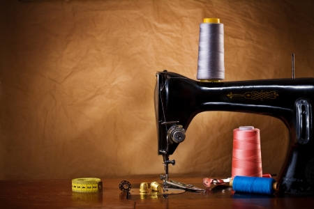 sewing machines: copy space vintage sewing tools Editorial