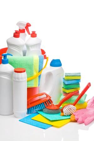 productos quimicos: art�culos de limpieza copyspace composici�n Foto de archivo